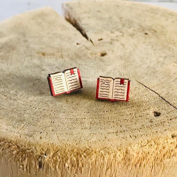 Handmade Book Lasercut Wood Earrings on Sterling Silver Posts