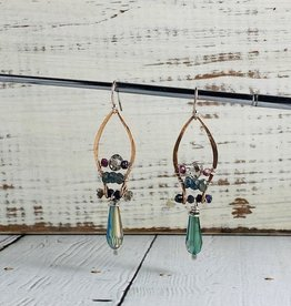 Handmade crystal, aquamarine, amethyst beaded on hand formed bronze and sterling silver drop earrings.