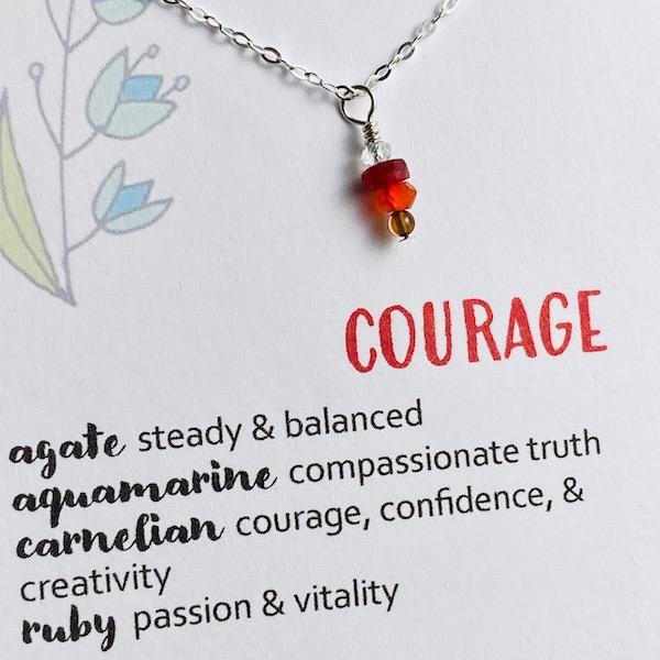 Handmade Silver Necklace with courage gemstones