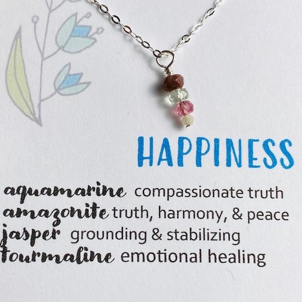 Handmade Silver Necklace with Happiness Gemstones