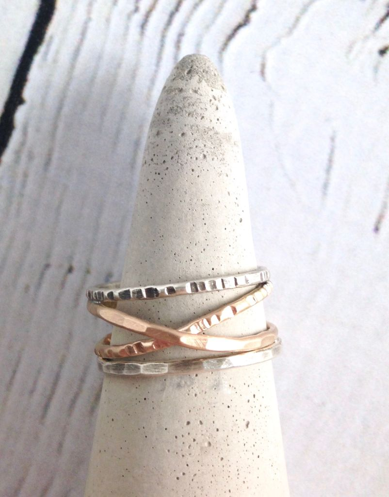 Etched and Hammered 14kt Goldfill Bands with Sterling Silver Outer Ring, Size 8