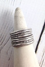 Hill Tribe Multi-Layered Look  Silver Ring, Size 8