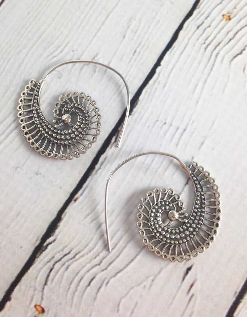 Sterling Silver Ornate Swirl Earrings