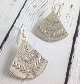 Hill Tribe Stamped Fan-Shaped Earrings