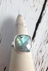 Checkerboard Cut Labradorite Ring, SS, 9