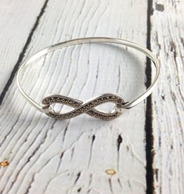 Silver and Marcasite Infinity Bangle Bracelet