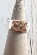 Hammered Sterling Band Wrapped with Gold Filled Wire