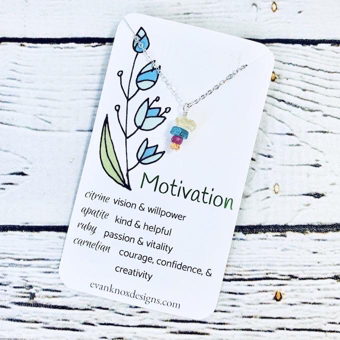 Handmade Silver Necklace with Motivation Gemstones