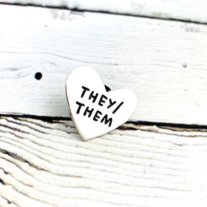 They/Them Pronoun Heart Pin