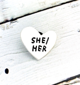 She/Her Pronoun Heart Pin