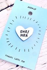 She/Her Pronoun Heart Pin