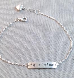 Sterling Silver Je t'aime Bracelet