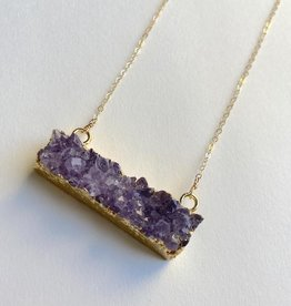Handmade 14k Goldfill Necklace with bar of Amethyst Druzy