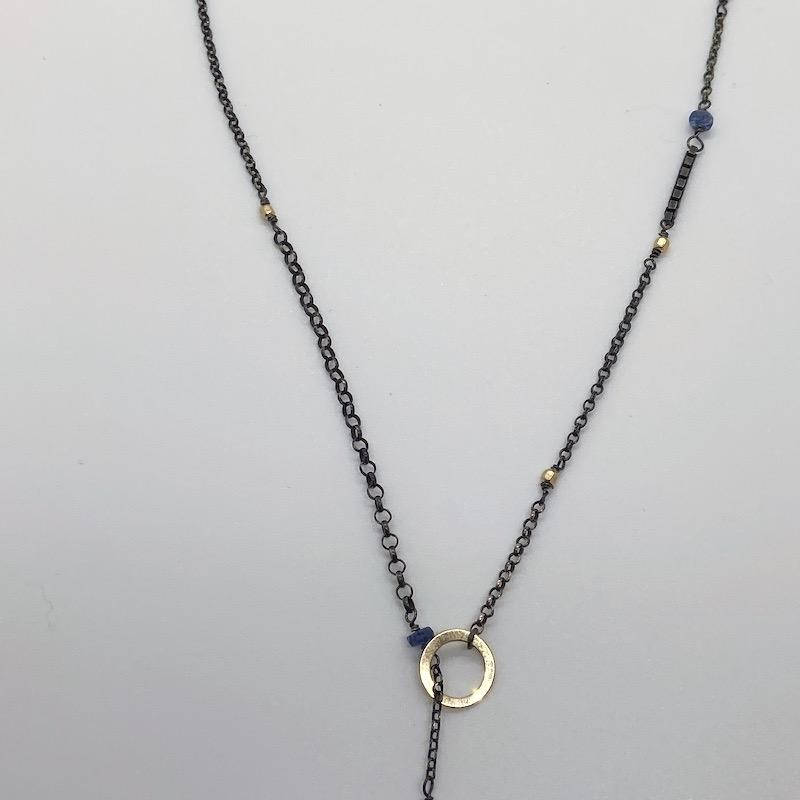 Handmade Oxidized Silver Lariat Necklace with kyanite briolette, oxidized chain, 14 k g.f. faceted cubes/ring, and kyanite stations
