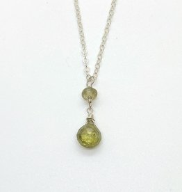 Handmade Silver Necklace with green garnet briolette and disc