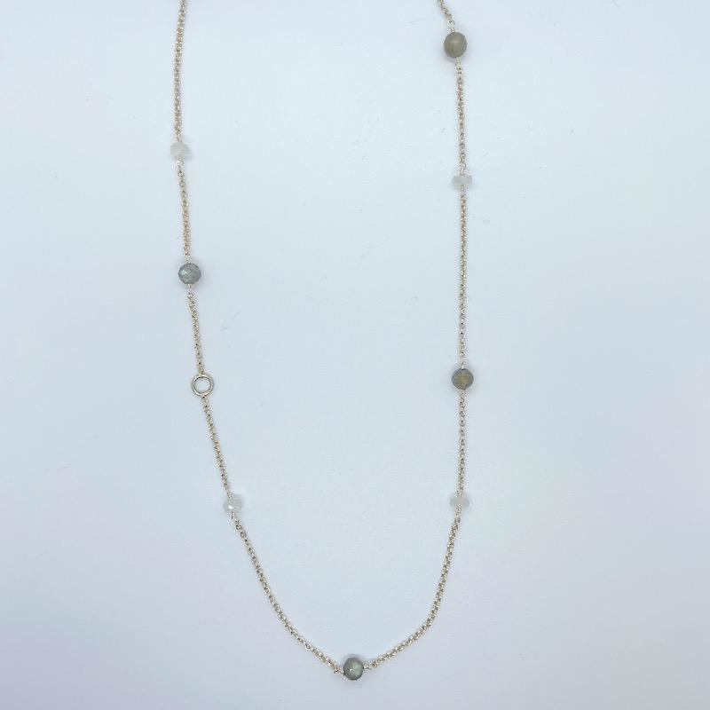 Handmade Silver Necklace with alternating rainbow moonstone, labradorite, 20""