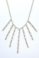 Handmade Sterling Silver Necklace with 7 graduated faceted silver sticks