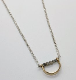 Handmade Sterling Silver Necklace with curved 14 k goldfill U and row of raw white diamonds