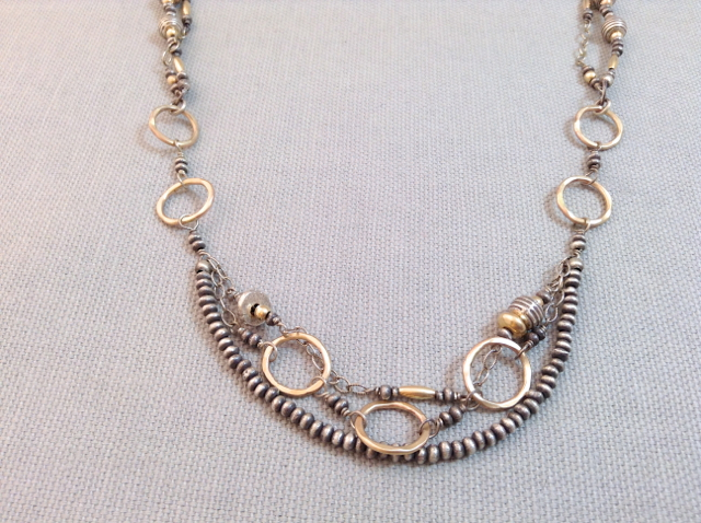 Handmade Oxidized Sterling and 14kt Gold Fill Multi Strand Necklace