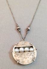 Handmade Hammered Sterling Pendant with Pearl Window