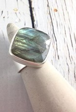 Handmade Faceted labradorite cushion cut on wide sterling band - size 8