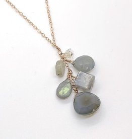 "Handmade 14K Rose Goldfill 18"" Necklace with Cascade of Moonstone and Labradorite"