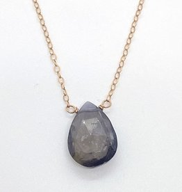 Handmade 14k Rose Gold Filled Necklace with Iolite Drop