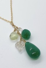 """Handmade 14K Goldfill 18"""" Necklace with Cascade of Green Onyx Stones"""