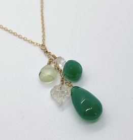 "Handmade 14K Goldfill 18"" Necklace with Cascade of Green Onyx Stones"