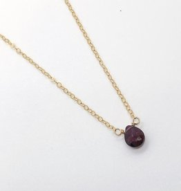 "Handmade 14k Goldfill 16"" Necklace with Small Garnet Drop"