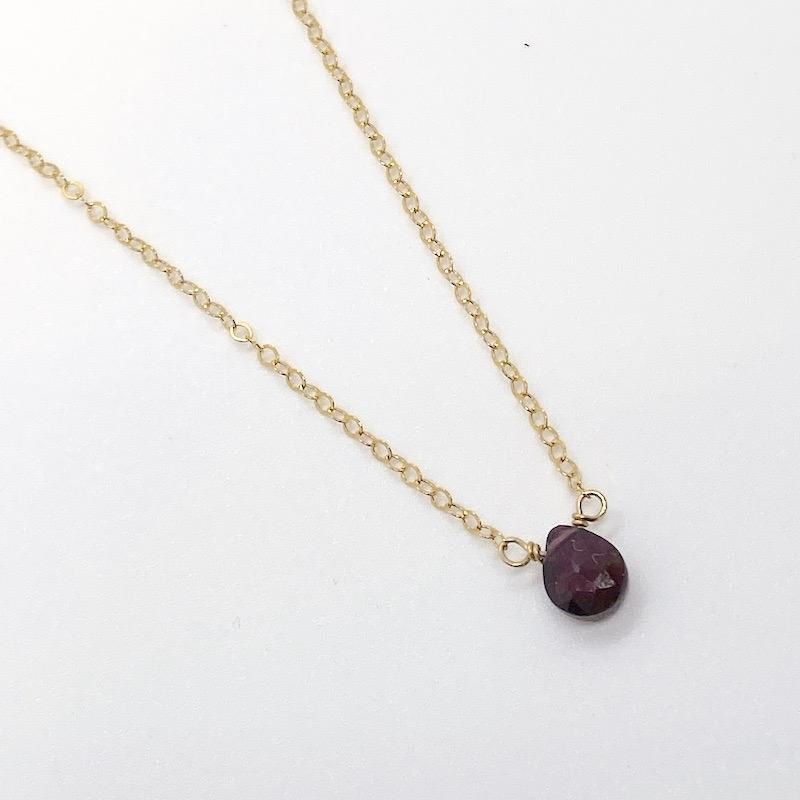"""Handmade 14k Goldfill 16"""" Necklace with Small Garnet Drop"""