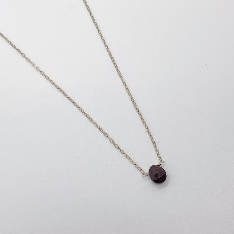 "Handmade Silver 16"" Necklace with Small Garnet Drop"