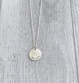 Sterling Silver Diamond Dusted Believe Necklace
