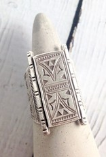 Hill Tribe Temple Door Stamped  Silver Ring, Size 8