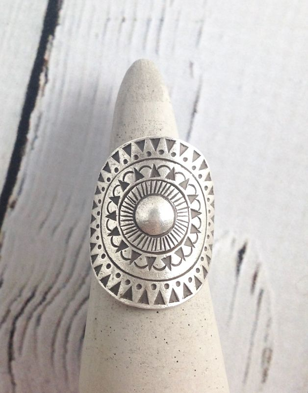 Hill Tribe Silver Sunburst Tribal Ring, Size 7