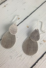 Hill Tribe Silver Stamped Double Teardrop Earrings
