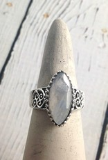 Sterling Silver Large Faceted Marquis Moonstone Ring, Size 8
