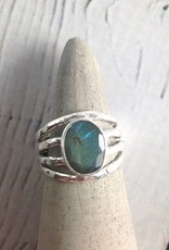 Sterling Silver Oval Labradorite, Multi band Ring, Size 8