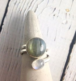 Sterling Silver Wrap Ring with Moonstone and Labradorite, Size 8