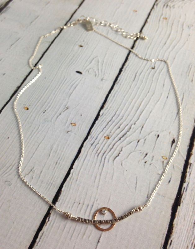 """Handmade Etched sterling with 14kt goldfill circle and 2mm white cz necklace, 18"""""""