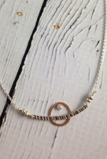 Handmade Etched sterling with 14kt goldfill circle and 2mm white cz necklace, 18""