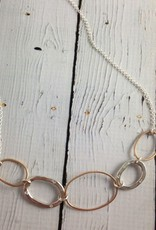 """Handmade Hammered 14kt goldfill and sterling ovals necklace with flush set 1.5mm white cz on 19"""" chain"""