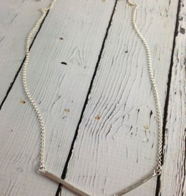 Handmade Hammered Sterling  V Bar Necklace with Cubic Zirconia