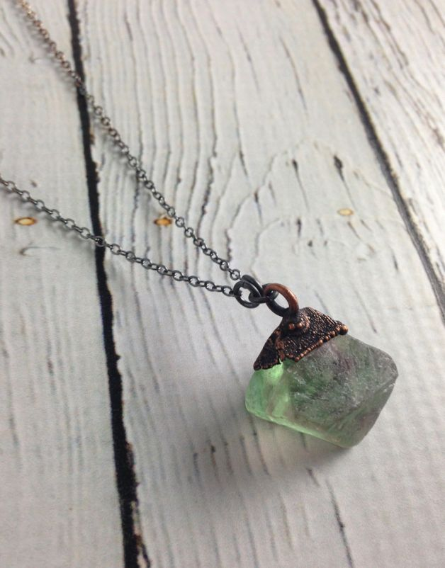 "Vivid Green Fluorite Pyramid on 30"" Oxidized Ombre Sterling Silver Chain Necklace"