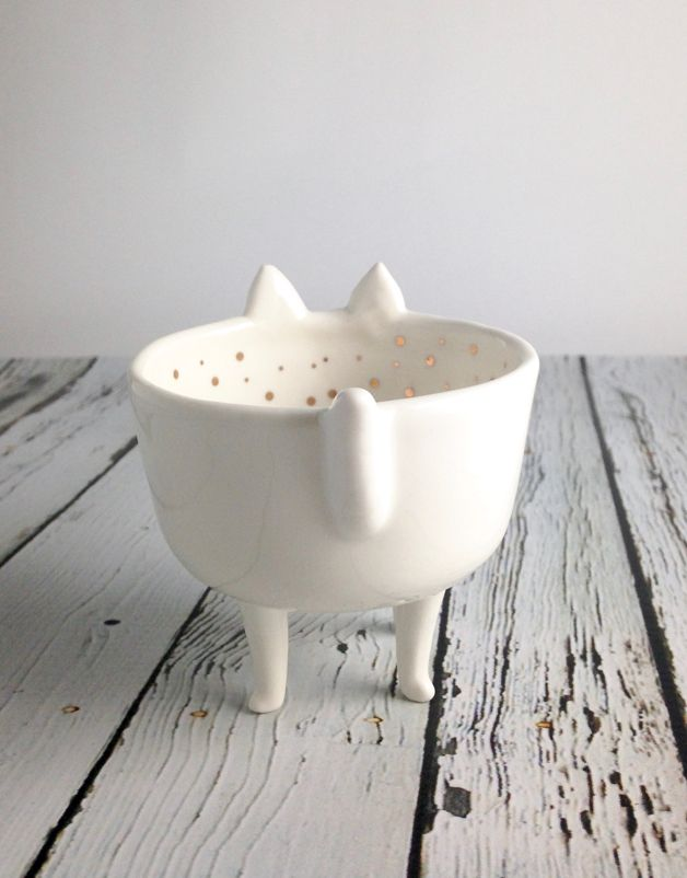 Stoneware Cat Shaped Dish with  Gold Electroplated Dots