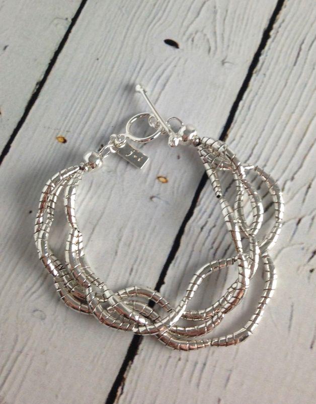 Silver Multi Twist Bead Bracelet