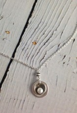 Handmade Oxidized Sterling Cupped White Pearl Necklace