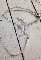 Handmade  3mm White FWP Necklace with Oxidized Sterling Chain