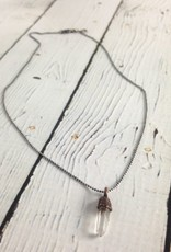 "Raw Quartz Pendant on 18"" Sterling Chain Necklace"