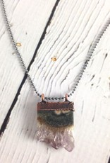 """Raw Amethyst Slice pendant on 18"""" Sterling Chain Necklace"""